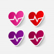 Stock Vector: Sticker of heartbeat sign