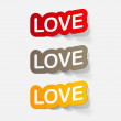 Stock Vector: Sticker of big love
