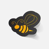 Sticker of bee — Stock Vector