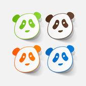 Paper sticker of panda bear — Stok Vektör