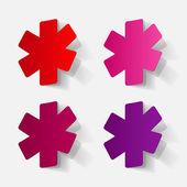 修剪的贴纸: 符号的医疗服务 — 图库矢量图片