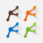 Paper clipped sticker: molecule — Stock Vector