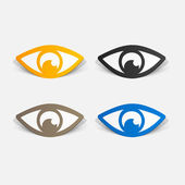 Paper clipped sticker: eye — Stock Vector