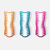 Etiqueta engomada de papel recortadas: columna vertebral — Vector de stock