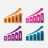 Paper clipped sticker: growing graph — Vector de stock
