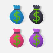 Paper clipped sticker: bag of money — Vector de stock