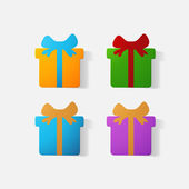 Paper clipped sticker: gift with bow — Cтоковый вектор