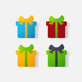 Paper clipped sticker: gift with bow — Stockvektor