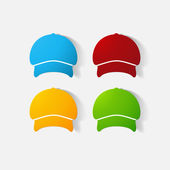 Paper clipped sticker: headgear, Cap — Stock Vector