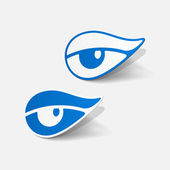 Realistic paper sticker: eye — Stock Vector