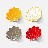 Realistic paper sticker: shell — Stock Vector