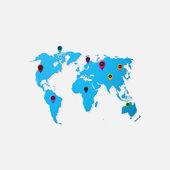 Realistic paper sticker: map of the world — Vector de stock