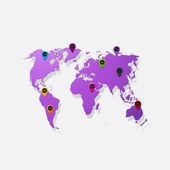 Realistiska papper klistermärke: karta över världen — Stockvektor
