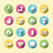 Paper clipped sticker: Baby set — Stock Vector