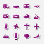 Paper clipped sticker: transport Set — Stock Vector