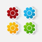 Realistic paper sticker: flowers. camomile — Stockvektor