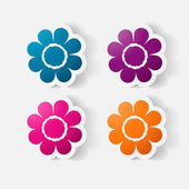 Realistic paper sticker: flowers. camomile — Stock Vector