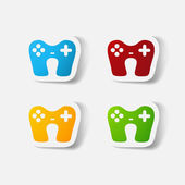 Paper clipped sticker: game joystick — Vettoriale Stock