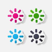 Paper clipped sticker: sun — Stock Vector