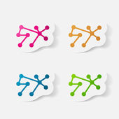 Etiqueta engomada de papel recortadas: molécula — Vector de stock