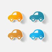 Paper clipped sticker: car — Stock Vector