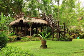 Outdoor Wooden Gazebo over Rainforrest Landscape in Thailand. — Stock Photo