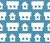 Pattern of the houses on striped background — Stock Vector