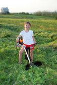 Junior benzokosoy mower with grass on the workpiece — Stock Photo