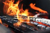 Grilování požár — Stock fotografie