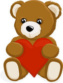 Teddy Bear holding a heart — Stock Vector