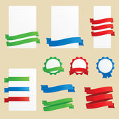 Banners, ribbons and badges — Stock Vector