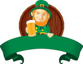 Leprechaun with beer — Stock Vector