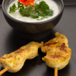 Chicken skewers and bowl — Stock Photo