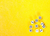 Dice on a yellow background — Stock Photo