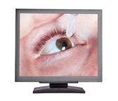 L'homme est tombé dans les yeux sur un écran gris — Photo