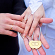 Stock Photo: Padlock in hands of newlyweds