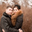 Sensual portrait of a young couple in the cold winter — Stock Photo