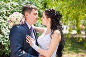 The bride and groom look at each other — Stock Photo