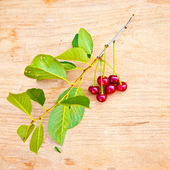 Ripe cherries on a wooden background — Stock Photo