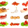 Set garden vegetables on a white background  — Stock Photo