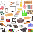 Stock Photo: Set of different household objects on white background