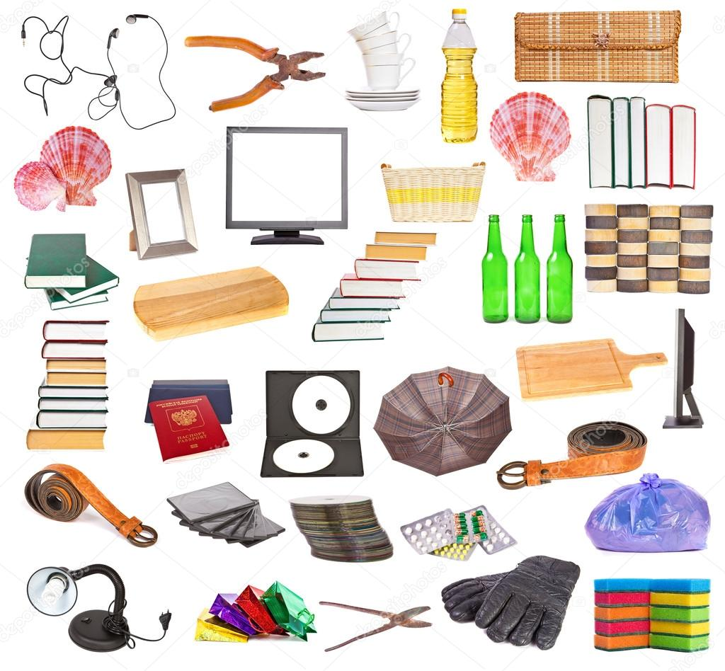 Set of different household objects on a white background for Oggetti x la casa