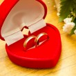 Velvet box with wedding rings — Stock Photo