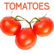 A branch of red tomatoes on white background — Stock fotografie