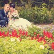 Happy groom and bride wedding walk in park — Stock Photo #29393229