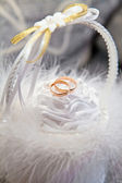 Wedding rings in a white fluffy basket — Stock Photo