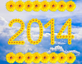 Happy news year, numbers of flowers, against the blue sky — Stockfoto
