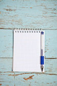 Open notebook and pen on the wooden background — Stock Photo