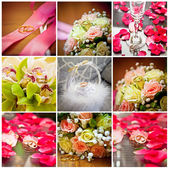 Collage of wedding rings and bouquets — Stock Photo
