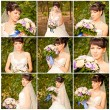Collage portrait of the bride with a bouquet — Stock Photo